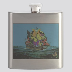 Butterfly Sailing Pirate Ship Print Flask