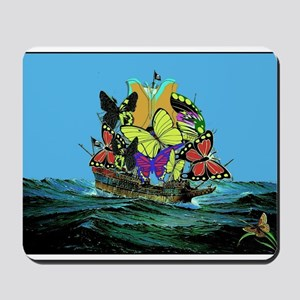 Butterfly Sailing Pirate Ship Print Mousepad