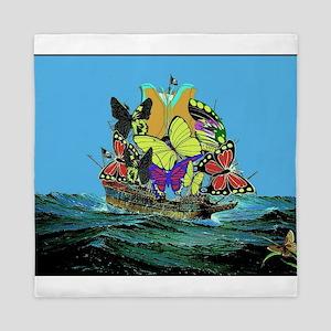 Butterfly Sailing Pirate Ship Print Queen Duvet