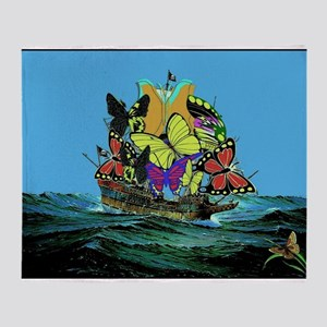 Butterfly Sailing Pirate Ship Print Throw Blanket