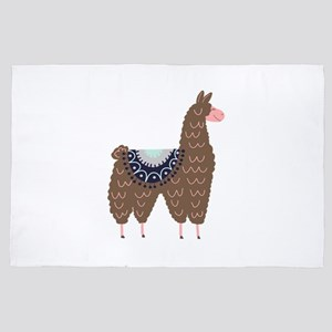 Cute Pink and Brown Llama 4' x 6' Rug