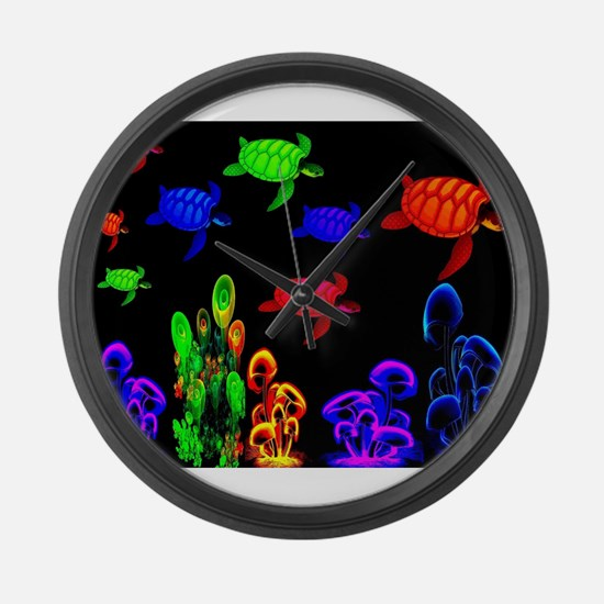 Psychedelic Turtle Migration in T Large Wall Clock