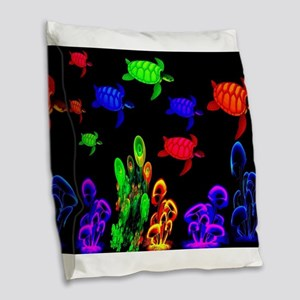 Psychedelic Turtle Migration i Burlap Throw Pillow