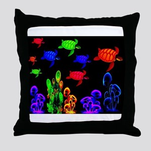 Psychedelic Turtle Migration in The G Throw Pillow