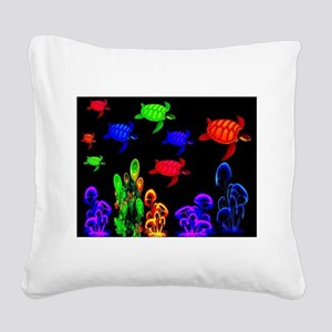 Psychedelic Turtle Migration Square Canvas Pillow