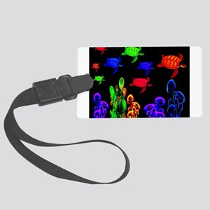 Psychedelic Turtle Migration in Large Luggage Tag