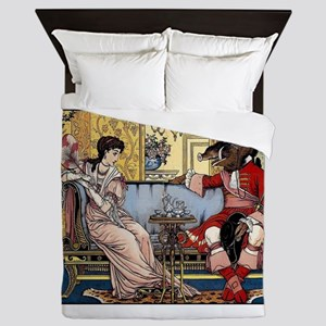 Beauty and The Beast having Tea by Wal Queen Duvet
