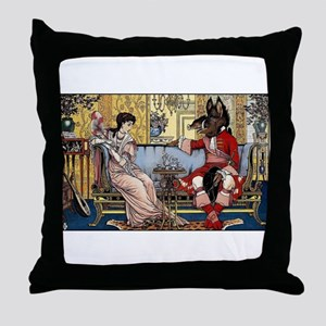 Beauty and The Beast having Tea by Wa Throw Pillow