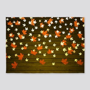 Rustic Fall Leaves 5'x7'Area Rug