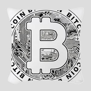 Bitcoin BTC Coin Logo Woven Throw Pillow