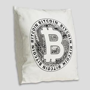 Bitcoin BTC Coin Logo Burlap Throw Pillow