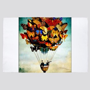 Butterfly Abstract Balloon Vintage Col 4' x 6' Rug