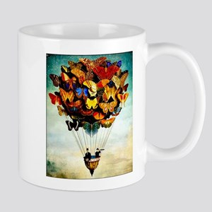 Butterfly Abstract Balloon Vintage Colorful P Mugs