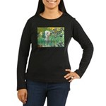 Irises /Bedlington T Women's Long Sleeve Dark T-Sh