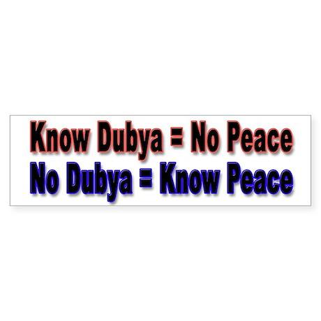 No Dubya Bumper Sticker