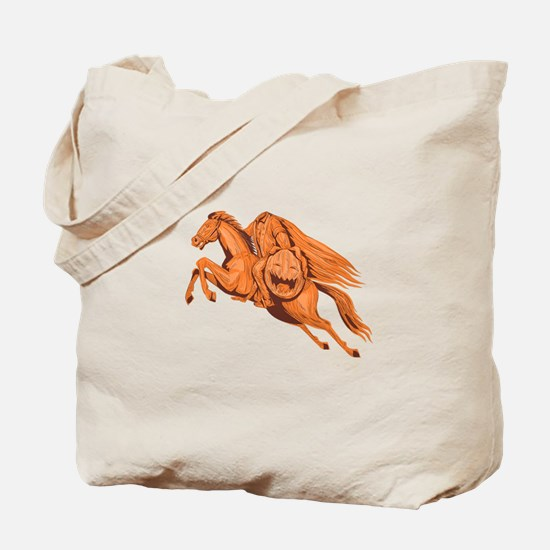 Headless Horseman Pumpkin Head Drawing Tote Bag