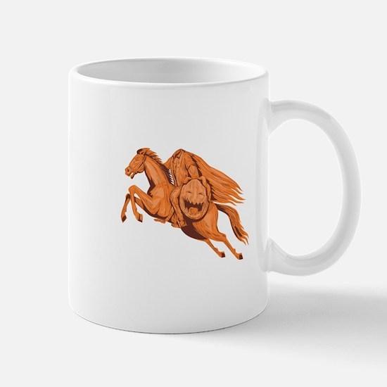 Headless Horseman Pumpkin Head Drawing Mugs