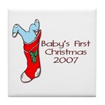 Baby's First Christmas 2007 Tile Coaster