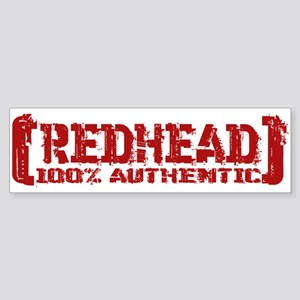 Redhead Tattered - 100% Athntc Bumper Sticker