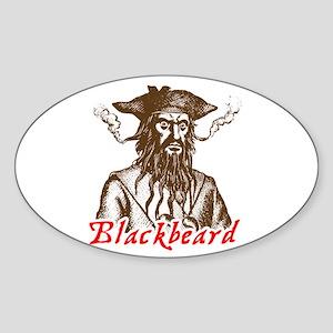 Red Blackbeard Oval Sticker