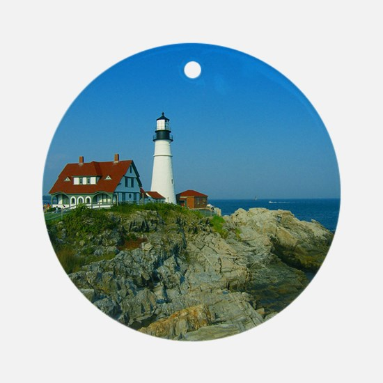 Portland Head Light Ornament (Round)