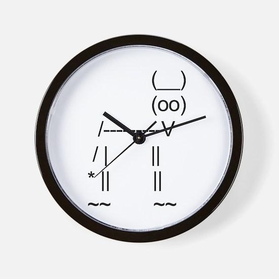 Ascii cow art Wall Clock