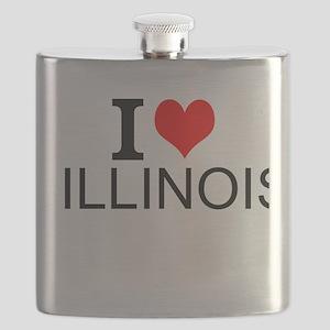 I Love Illinois Flask