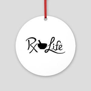 Black Rx Life Round Ornament