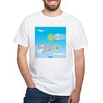 Plane and Shark White T-Shirt