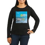 Plane and Shark Women's Long Sleeve Dark T-Shirt