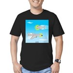 Plane and Shark Men's Fitted T-Shirt (dark)