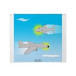 Plane and Shark Throw Blanket