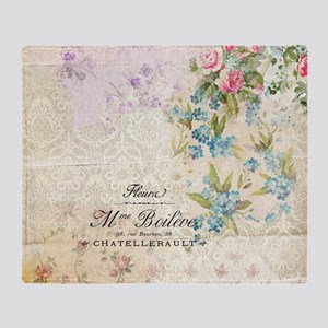 Beautiful Floral Vintage Illustratio Throw Blanket