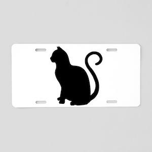 Black Cat Silhouette Aluminum License Plate