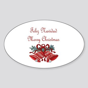 Spanish Christmas Oval Sticker