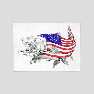 Steel Head American Salmon 5'x7'Area Rug