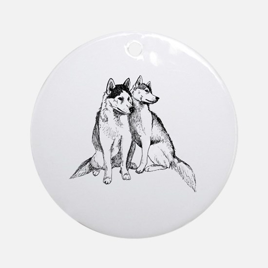 Cute Siberian huskies Round Ornament