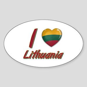 I love Lithuania Oval Sticker