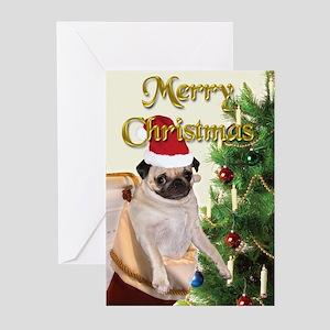 CARD -  Pug Christmas Stocking (Pk of 10)