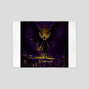 Angelic Guardian Yellow and Purple 5'x7'Area Rug