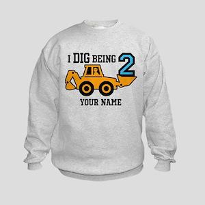 I Dig Being 2 Personalized Kids Sweatshirt