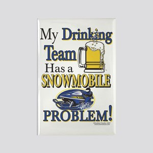 New Snowmobile Drinking Team Rectangle Magnet