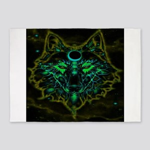 Mythical Neon Yellow Wolf 5'x7'Area Rug