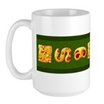 Fiery Maya Jaguar Hieroglyphs Large Mug