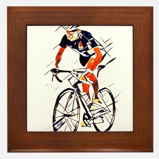 Cyclist Framed Tile
