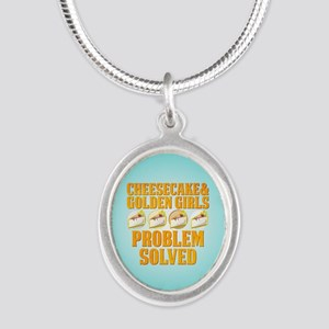 Cheesecake & Golden Girls Silver Oval Necklace