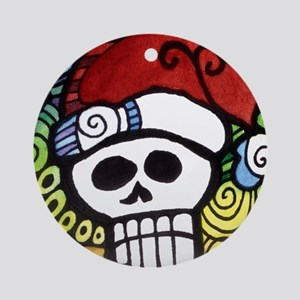 Day of the Dead Feliz Navidad Sugar Round Ornament