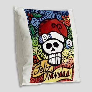 Day of the Dead Feliz Navidad Burlap Throw Pillow