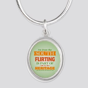 Flirting is Part of My Herita Silver Oval Necklace