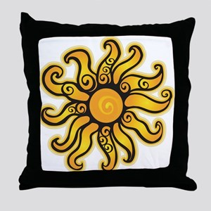 Swirly Sun Throw Pillow